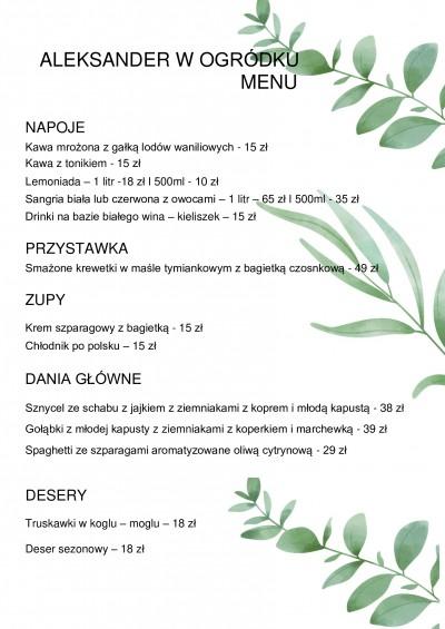 Restauracja Aleksander Włocławek menu